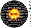 Concept of digital danger: Hacker are threatening the digital world - stock photo