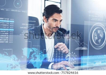 Concept of digital diagram,graph interfaces,virtual display,connections screen, online icon.Young man programmer working contemporary desktop computer.Blurred background.Horizontal
