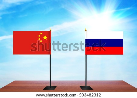 Concept of diplomatic talks between China and Russia
