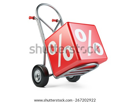 Concept of discount. Hand truck with percent symbol on white background