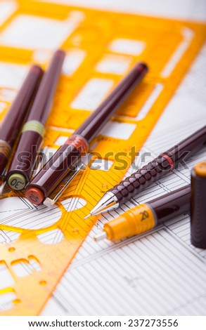 Concept of drawing. Blueprints and drafting tools. - stock photo