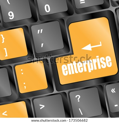 concept of e-commerce or ecommerce, enterprise, with message on computer keyboard. - stock photo