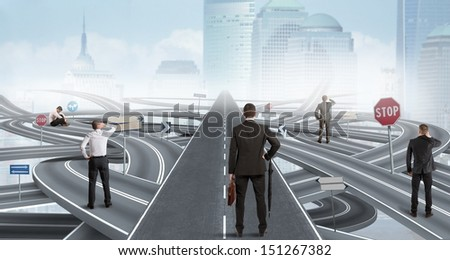 Concept of easy solution of a businessman - stock photo