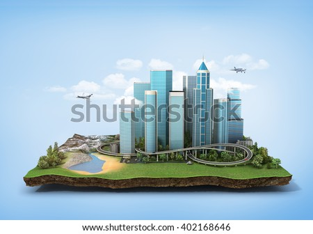 Concept of eco city. Modern city with skyscrapers, highway and cars surrounded by nature landscape on the patch of land. 3d illustration - stock photo