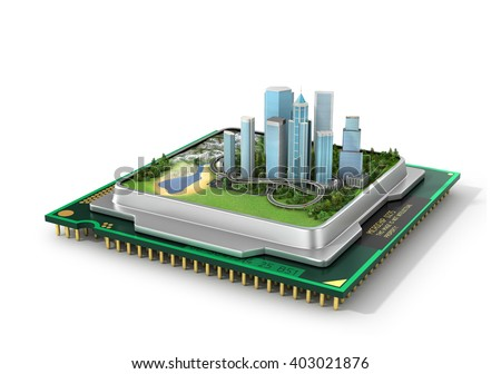 Concept of eco technology. Eco-city, Smart city. Green city in processor. Green industry. 3d illustration - stock photo