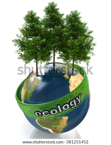 concept of ecology in the design of the information related to the global problems - stock photo