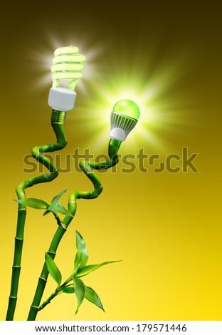 concept of efficiency on lighting - flash vs LED lamp  - stock photo