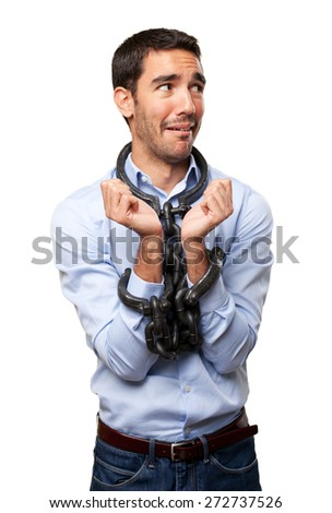 Concept of enslaved worker - stock photo