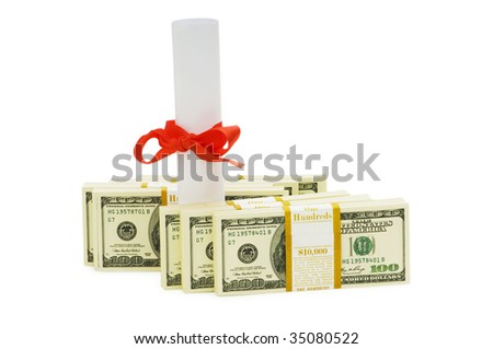 Concept of expensive education - dollars and diploma - stock photo