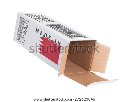 Concept of export, opened paper box - Product of Bahrain - stock photo