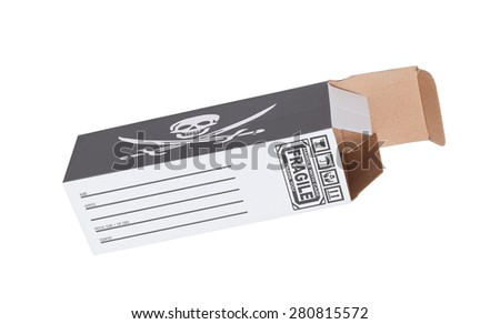 Concept of export, opened paper box - Product of Illigal product - stock photo