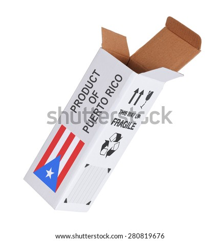 Concept of export, opened paper box - Product of Puerto Rico - stock photo