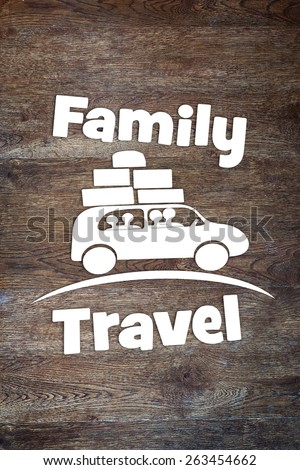 Concept of family journey by the car - stock photo