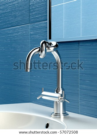 Concept of faucet with knot in blue bathroom - stock photo