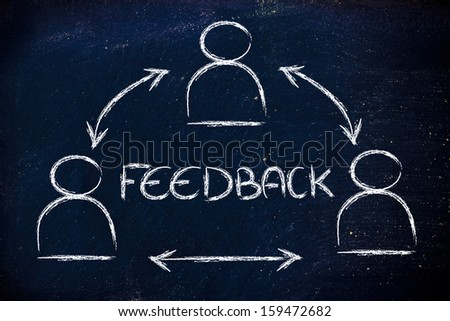 concept of feedback, design with group of people communicating - stock photo