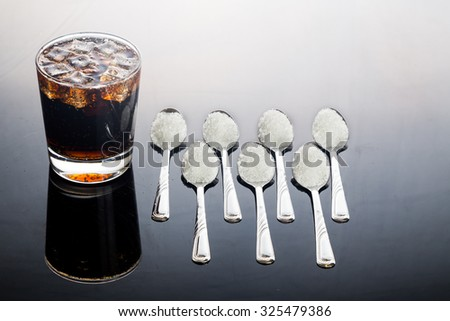 Concept of fizzy cola drinks with unhealthy sugar content. - stock photo
