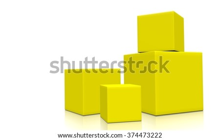 Concept of four 3d yellow boxes isolated on white background. Rendered illustration.  - stock photo