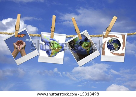 Concept of Global Issues on instant photo Film Blanks Hanging on a Rope With Clothespins - stock photo