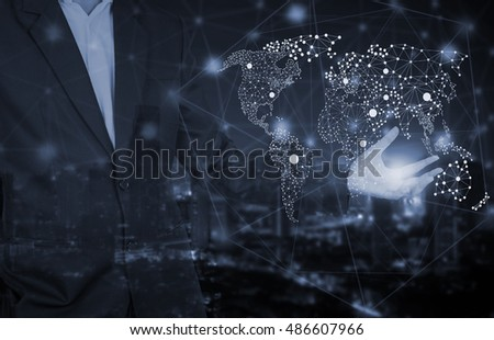 Concept Of Global Social Network With Businessman and world map
