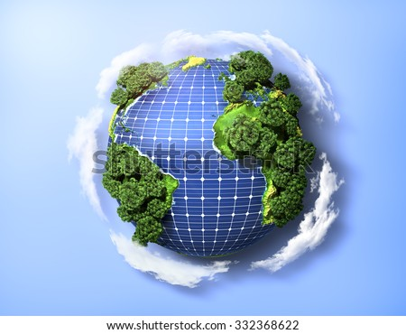 Concept of green solar energy. Green planet earth with trees and solar panels in the ocean. - stock photo