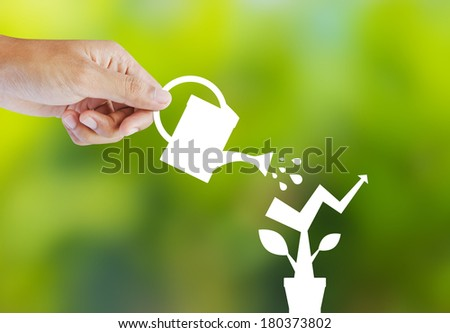 Concept of growing company with paper plant - stock photo