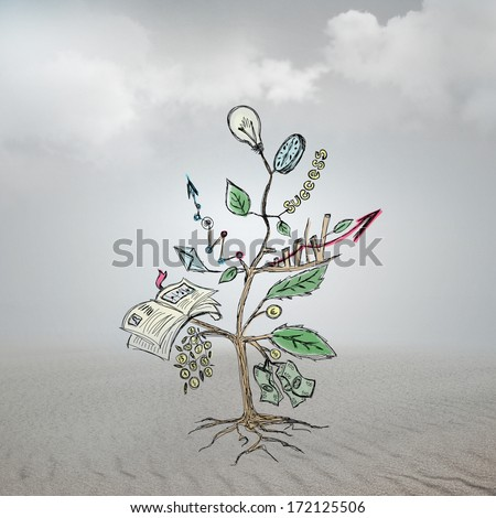 Concept of Growing company with sketch of a tree with business symbols - stock photo
