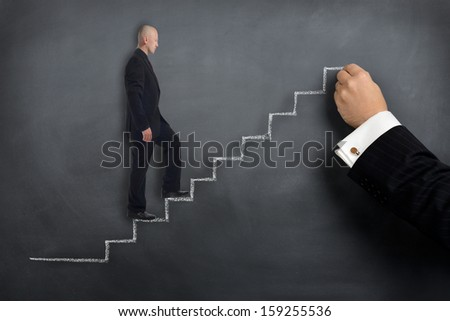 Concept of helping hand with growth or training - stock photo