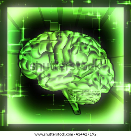 Concept of human brain on green background. High resolution. - stock photo