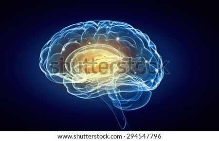 Concept of human intelligence with human brain on blue background - stock photo