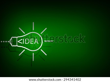 Concept of idea with light bulb on color background - stock photo