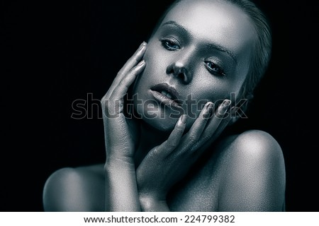 Concept of ideal beauty - silver perfect woman portrait