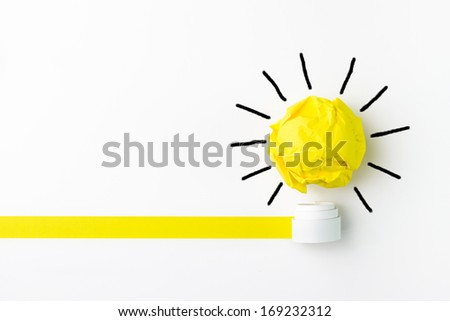 Concept of ideas using light bulb, with clipping path - stock photo