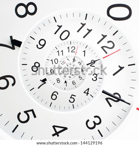 Concept of infinity time spiral. Twisted clock face - stock photo