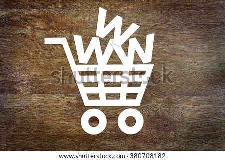 Concept of internet commerce. Conceptual image with paper scrapbooking - stock photo