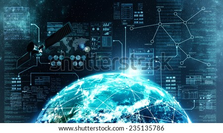 Concept of internet connection via  satellite communication in outer space - stock photo