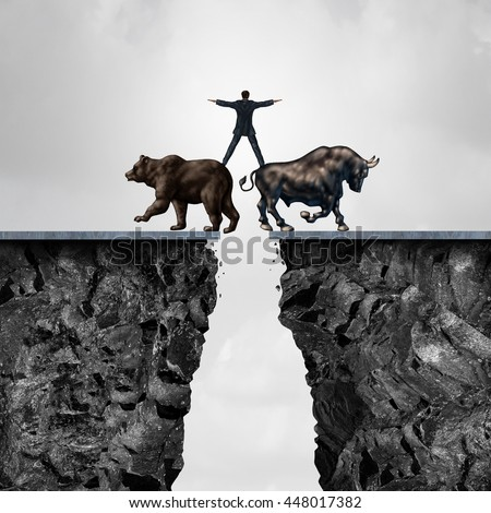 Concept of investment risk as a businessman balancing on top of a bear and bull as a financial metaphor for the danger of managing stock market forces of buying or selling in a 3D illustration style. - stock photo