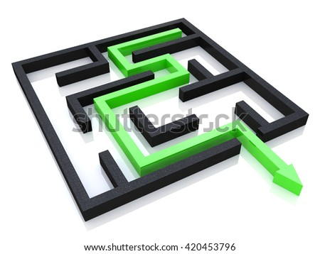 Concept of labyrinth in the design of access to information relating to the business. 3d illustration - stock photo