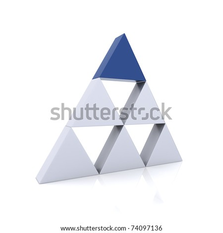 Concept of leadership with silver and blue triangles