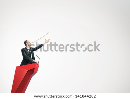 Concept of liar. Politician. Long nose. - stock photo