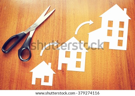 Concept of living conditions improvement. Abstract image with paper scrapbooking