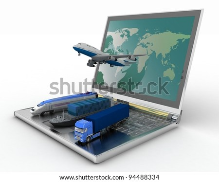 concept of logistics. delivery and transporting by all types of transport - stock photo