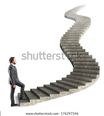 Concept of long career of a businessman - stock photo