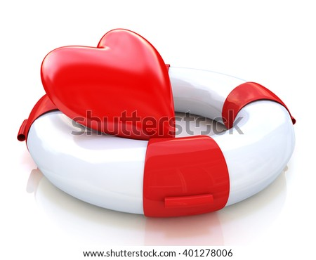 Concept of love relationships: heart and life buoy on white background. 3D rendered illustration