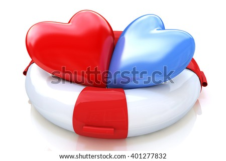 Concept of love relationships: two hearts and life buoy on white background. 3D rendered illustration - stock photo