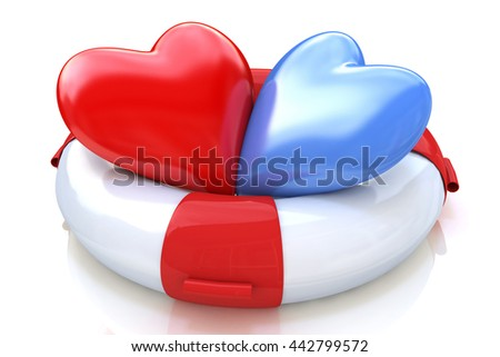 Concept of love relationships: two hearts and life buoy on white background in the design of the information associated with love. 3d illustration - stock photo
