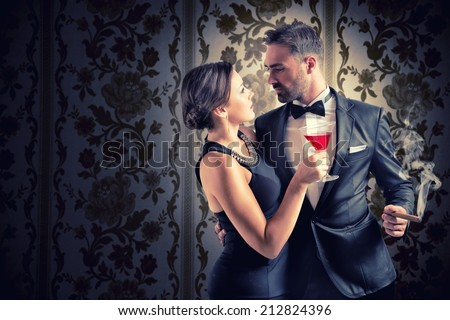 Concept of love with romantic couple watching passionately - stock photo