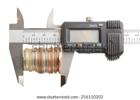 concept of measuring your money, isolated on a white background - stock photo