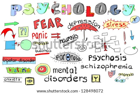 concept of mental disorders, hand drawn - stock photo