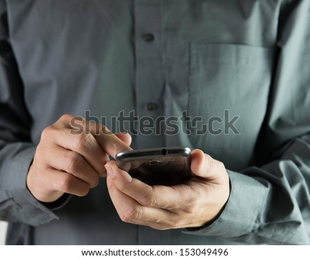 Concept of modern communication wireless using smartphone - stock photo