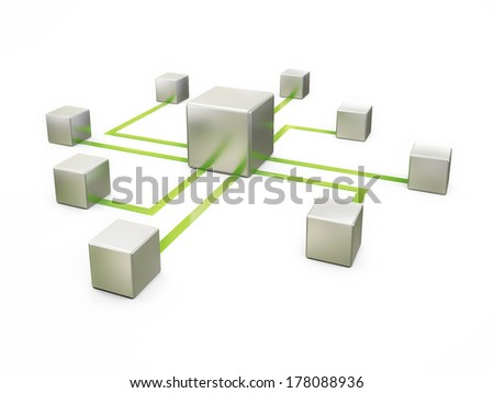 Concept of Network Communication on White Background,. Green Connection